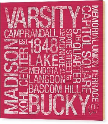 Wisconsin College Colors Subway Art Wood Print by Replay Photos