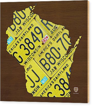 Wisconsin License Plate Map By Design Turnpike Wood Print by Design Turnpike