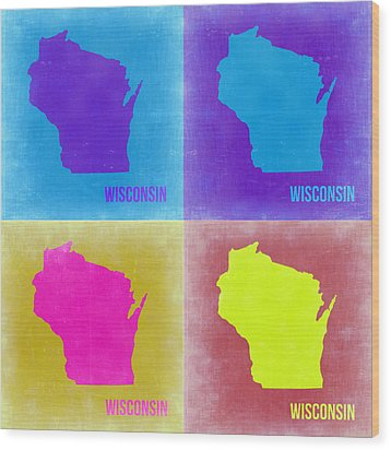 Wisconsin Pop Art Map 3 Wood Print by Naxart Studio