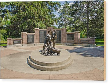Wood Print featuring the photograph Wisconsin State Firefighters Memorial 1 by Susan  McMenamin