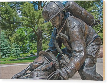 Wood Print featuring the photograph Wisconsin State Firefighters Memorial 4 by Susan  McMenamin