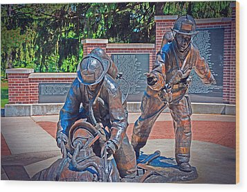 Wood Print featuring the photograph Wisconsin State Firefighters Memorial Park 2 by Susan  McMenamin