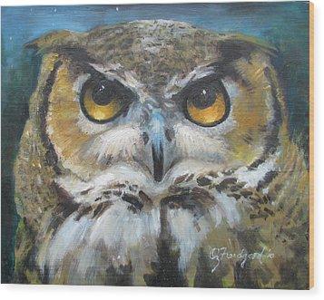 Wise Old Owl Eyes  Wood Print by Oz Freedgood