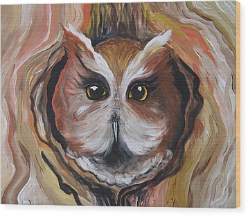 Wise Ole Owl Wood Print by Leslie Manley