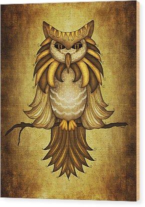 Wise Owl Wood Print by Brenda Bryant