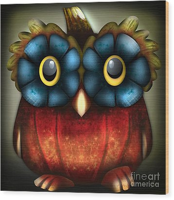 Wise Pumpkin Owl Wood Print