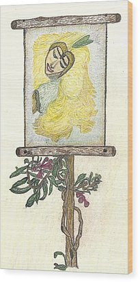 Wood Print featuring the drawing Wish And Tell by Kim Pate
