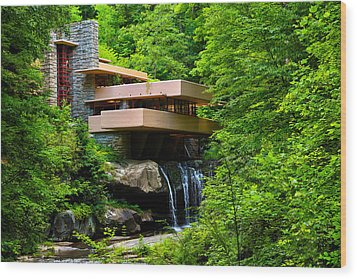 Wishes On Fallingwater Too Wood Print by Rachel Cohen