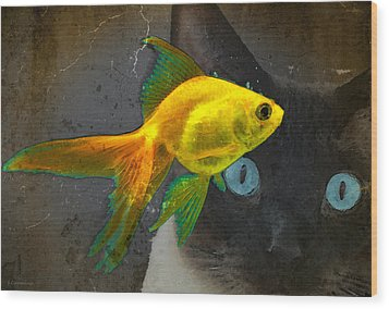 Wishful Thinking Cat Fish Art By Sharon Cummings Wood Print by William Patrick
