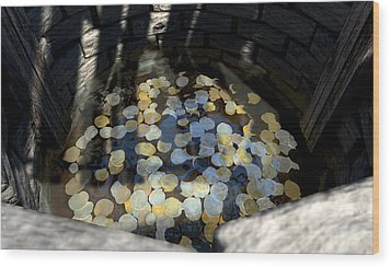 Wishing Well With Coins Perspective Wood Print by Allan Swart