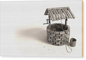 Wishing Well With Wooden Bucket And Rope Wood Print by Allan Swart