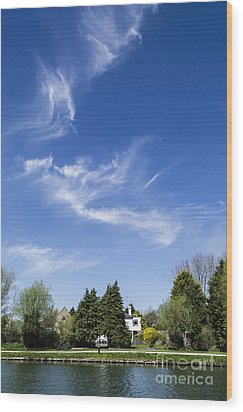 Wispy Clouds Above The River Cam Wood Print by Keith Douglas