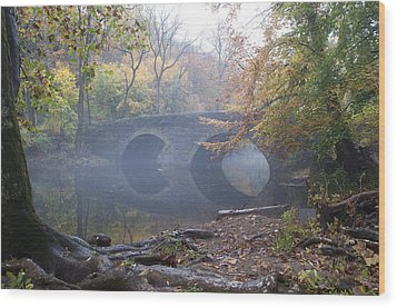Wissahickon Creek And Bells Mill Road Bridge Wood Print by Bill Cannon