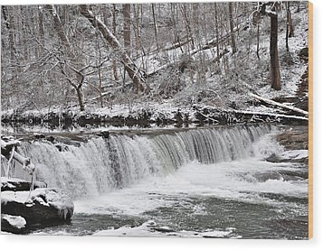Wissahickon Waterfall In Winter Wood Print by Bill Cannon