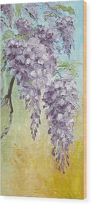 Wisteria And Gold Wood Print by Mary Rogers