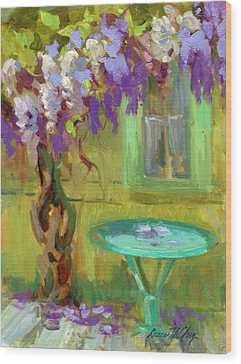 Wisteria At Hotel Baudy Wood Print by Diane McClary