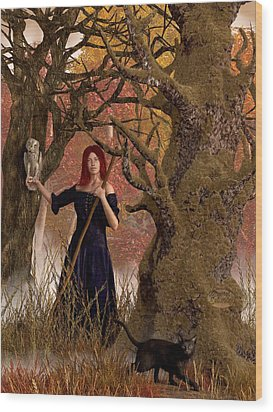 Witch Of The Autumn Forest  Wood Print by Daniel Eskridge