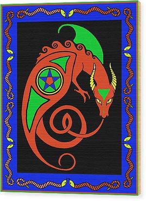 Wood Print featuring the digital art Witches Dragon by Vagabond Folk Art - Virginia Vivier