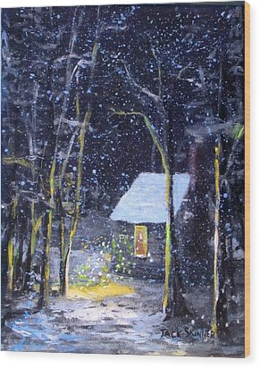 Wintery  Night At Thoreau's Cove Wood Print
