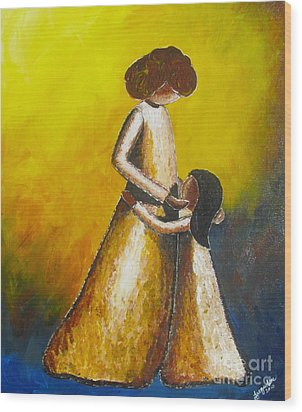 Wood Print featuring the painting With Her by Jacqueline Athmann