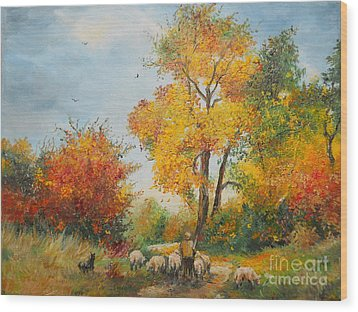With Sheep On Pasture  Wood Print by Sorin Apostolescu