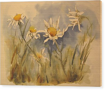 Withering Daisy's Wood Print by Ramona Kraemer-Dobson