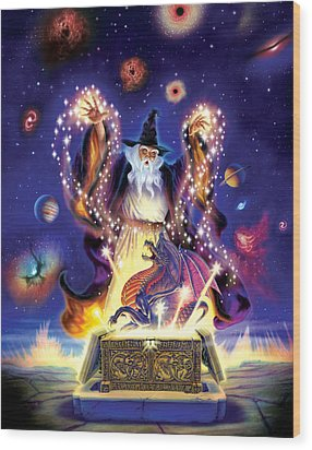 Wizard Dragon Spell Wood Print