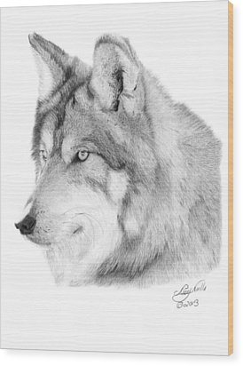 Wolf - 006 Wood Print by Abbey Noelle