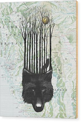 Wolf Barcode Wood Print by Sassan Filsoof