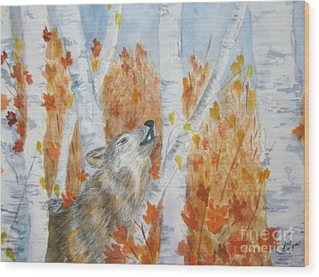 Wood Print featuring the painting Wolf Call by Ellen Levinson