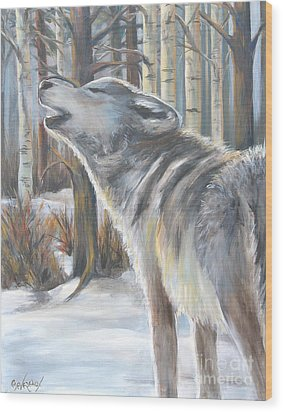 Wolf Wood Print by Cher Devereaux