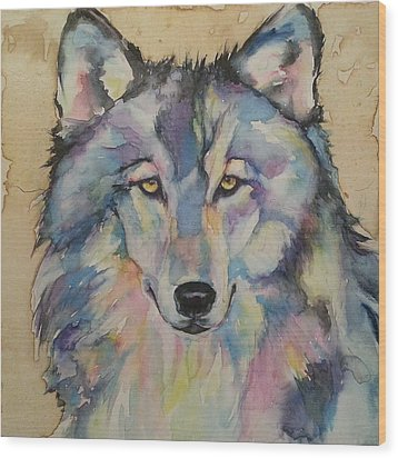 Wood Print featuring the painting Wolf by Christy  Freeman