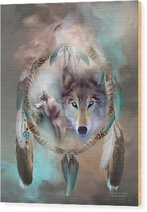 Wolf - Dreams Of Peace Wood Print by Carol Cavalaris