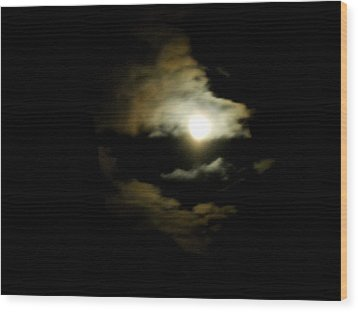 Wolf Eating The Moon I Wood Print