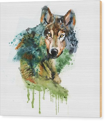 Wolf Face Watercolor Wood Print