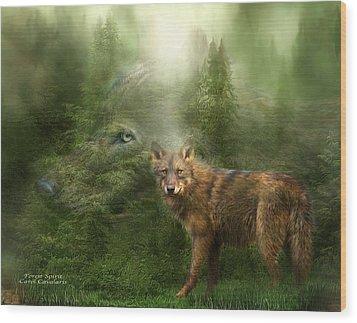 Wolf - Forest Spirit Wood Print by Carol Cavalaris