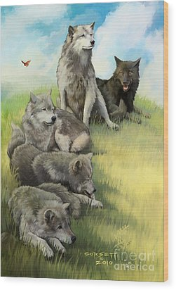Wood Print featuring the painting Wolf Gathering Lazy by Rob Corsetti