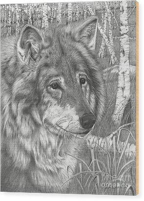 Wolf Gaze Wood Print
