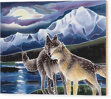 Wolf Greeting Wood Print by Harriet Peck Taylor