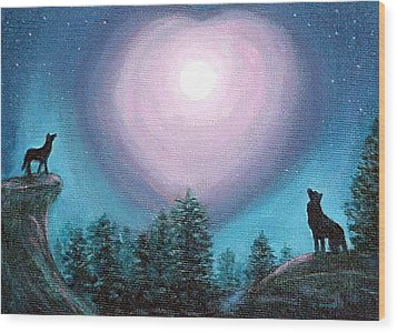Wood Print featuring the painting Wolf Heart Song by Fran Brooks