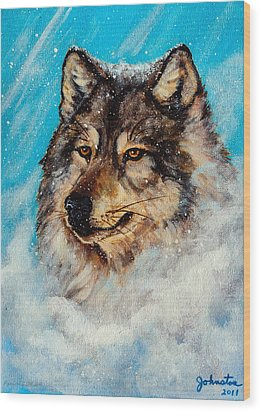 Wood Print featuring the painting Wolf In A Snow Storm by Bob and Nadine Johnston
