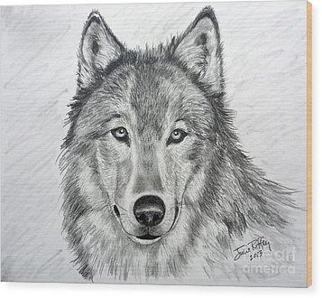 Wolf Wood Print by Julie Brugh Riffey