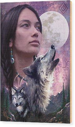 Wolf Montage Wood Print by Garry Walton