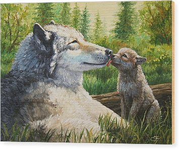 Wolf Painting - Spring Kisses Wood Print by Crista Forest