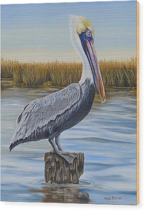 Wood Print featuring the painting Wolf River Pelican by Phyllis Beiser