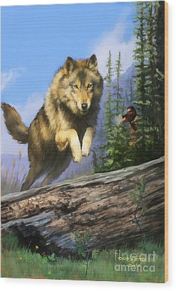 Wood Print featuring the painting Wolf Run Indian Hunter by Rob Corsetti