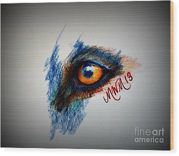 Wolf Sees Digital Wood Print by Michelle Wolff