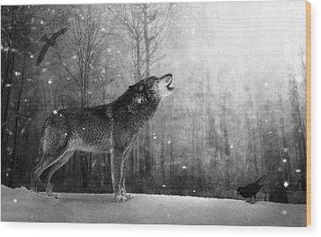 Wolfheart Wood Print by Marc Huebner