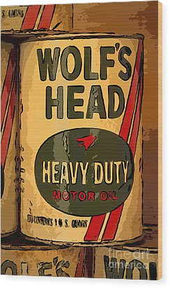 Wolf's Head Oil Can Wood Print