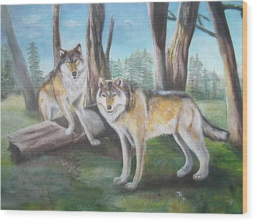 Wood Print featuring the painting Wolves In The Forest by Thomas J Herring
